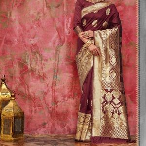 Magenta colour Baranas saree